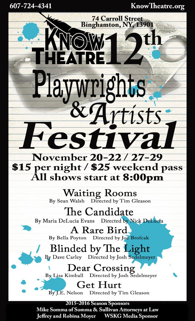 #KNOWTheatre. 12th Annual Playwrights and Artists Festival. Nov.20-22 and 27-29 all shows at 8 pm. http://www.knowtheatre.org