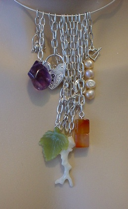Semi precious stone, pearl and sterling silver charm  chatelaine.