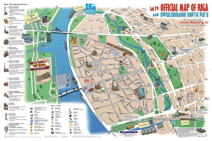 Mapa turstico de Riga Cidade Plano de Riga Cidade Plantas de