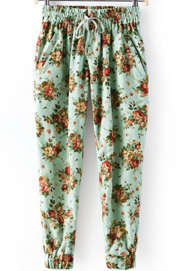 Shop Green Elastic Waist Rose Print Loose Pant online. Sheinside offers Green Elastic Waist Rose Print Loose Pant & more to fit your fashionable needs. Free Shipping Worldwide!