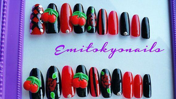 VintageCherry NailsPin up Girl nails20 by emitokyonails on Etsy