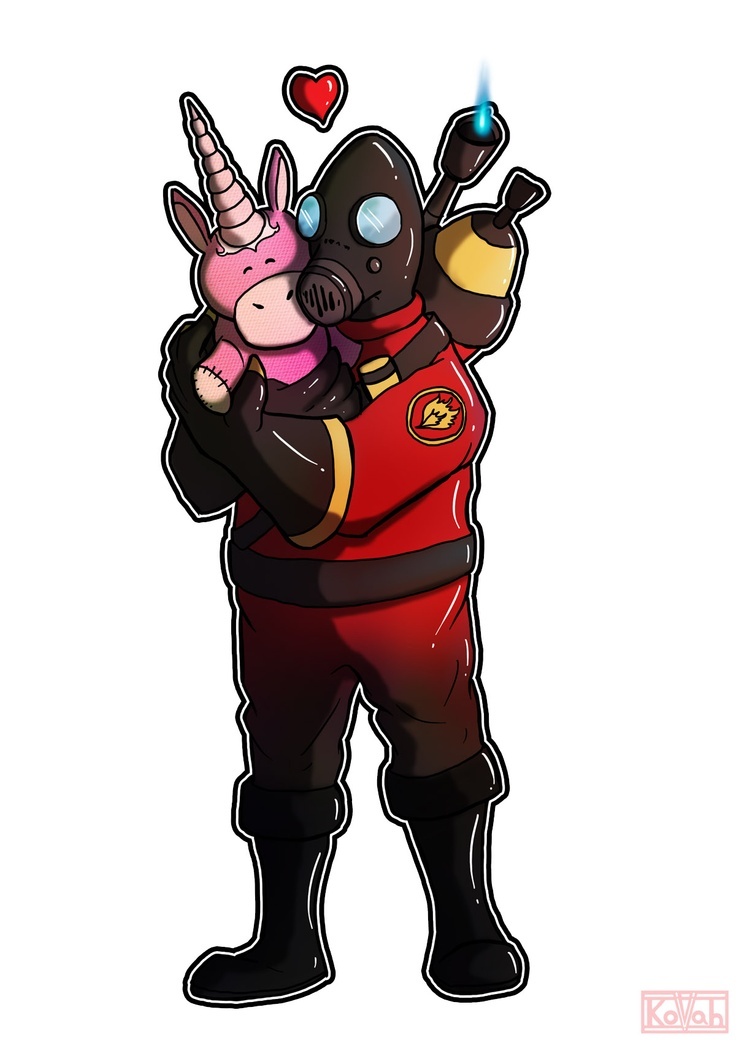 The Team Fortress 2 Pyro shows his softer more cuddly side. #tf2 Artist: Kovah
