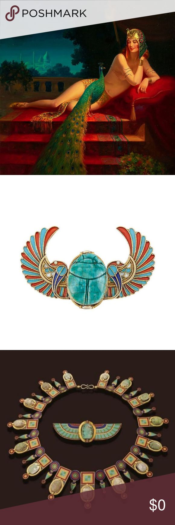 What is Egyptian Revival? The discovery of King Tuts tomb in 1922 led to an explosion in Egyptian motifs. Sometimes considered part of the Deco movement, it's influence can be found in architecture, furniture, art, fashion, jewelry and the movies.   This modern revival lasted into the 1960's.  The 1963 film Cleopatra, widely considered a flop,  brought the curtain down .  Other revivals occurred in the late 1700's and mid 1800's with similar results.   (Cleopatra - by Edward Mason Eggleston…