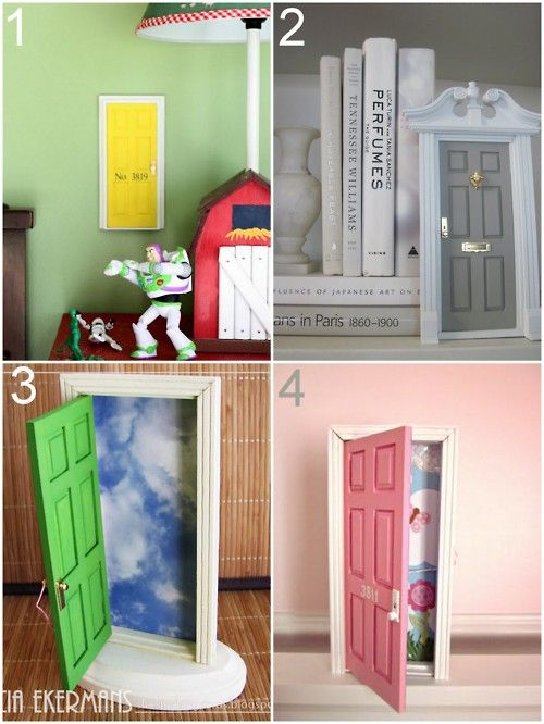 I love this idea. They are tiny tooth fairy doors or leprechaun doors to boost the kids excitment. Just think- an easter bunny door, santa's elf door...
