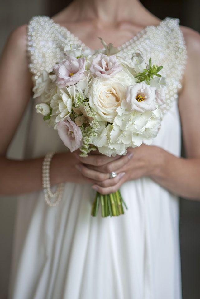Dress by Rita Colson Cliveden Bride Collection 'Cleo' A line silk dress with beaded bib #clivedenhouse #luxury #bridalwear #brides #couture #bespoke #pearl #beads #ritacolson #elegance #bridalgown #ethicalfashion #silk #bridesmagazine #britishdesigners #opulent www.ritacolson.com