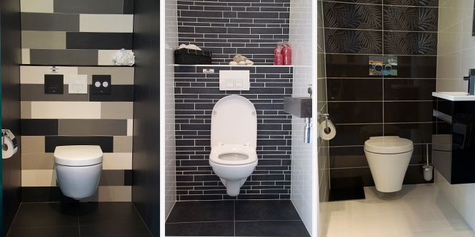 Toilets google and met on pinterest - Idee deco zwart badkamer en witte ...