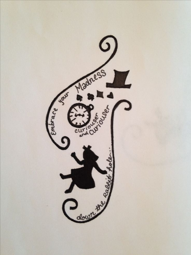 """""""Embrace Your Madness"""" Alice in Wonderland tattoo design (contact me if you'd like to use)"""