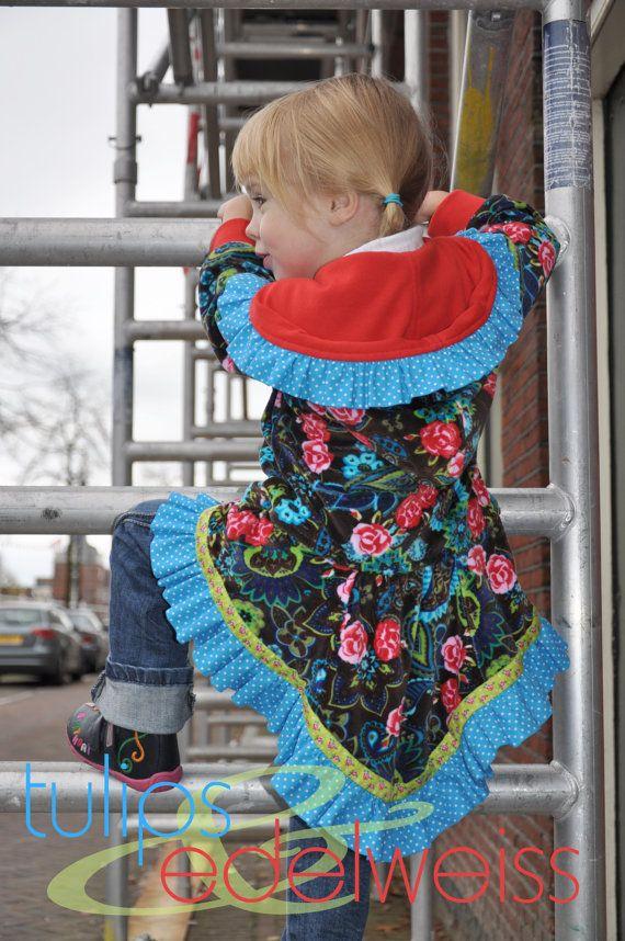 LARA - ruffled hoodie for girls, PDF sewing pattern. $12.50, via Etsy.