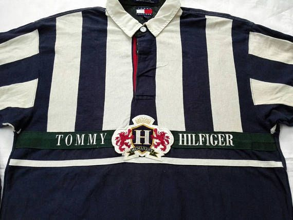 Rare Vintage Tommy Hilfiger Polo Rugby Shirt Sailing Gear