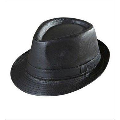 Deri Görünümlü Siyah Fötr Şapka _ Netlence.com