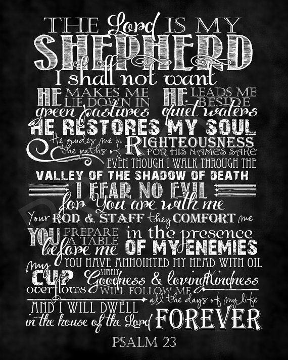 Scripture Art  Psalm 23 Chalkboard Style by ToSuchAsTheseDesigns