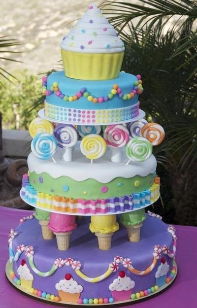 Candy Themed Wedding Cake