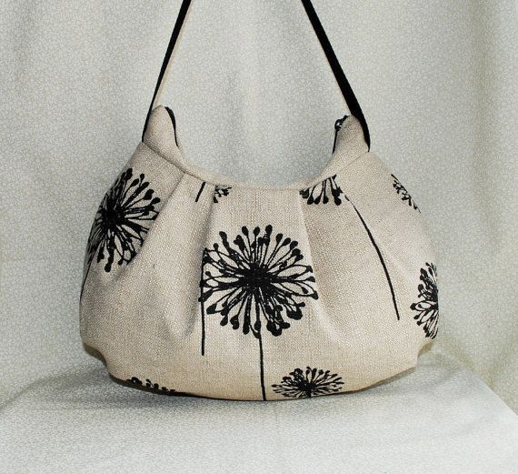 Pleated Bag // Shoulder Purse  Dandelion Black Denton by lireca, $35.00