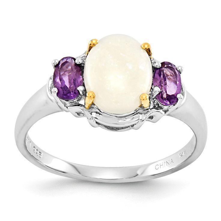 Diamond Rings : Sterling Silver & 14K Opal & Amethyst Ring  Goldia.com