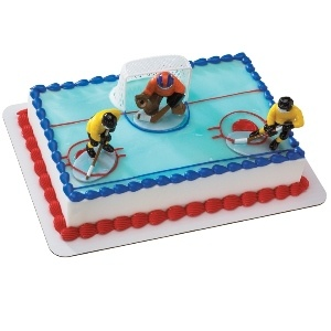 Hockey Face Off Cake Top