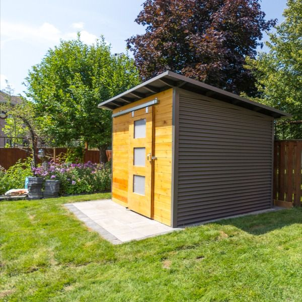 Charcoal Corrugated Steel And Premium Pine In Cedar Stain With A Modern Sliding Door Studio Shed Modern Sliding Doors Backyard