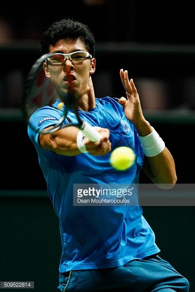 Hyeon Chung of South Korea in action against Viktor Troicki of Serbia during day 4 of the ABN AMRO World Tennis Tournament held at Ahoy Rotterdam on February 11, 2016 in Rotterdam, Netherlands.
