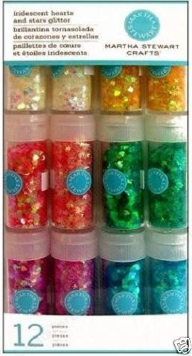 MARTHA-STEWART-CRAFTS-IRIDESCENT-HEARTS-STARS-GLITTER-SET-12-Colors-BEAUTIFUL