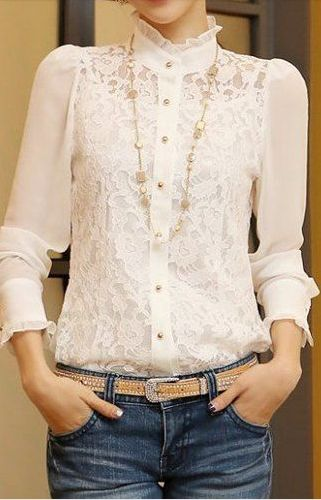 high neck lace blouse                                                                                                                                                                                 Más