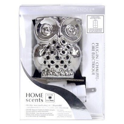Home Scents Electric Wax Melt Warmer Nightlight - Silver Owl (includes 6pk Waterfall Scent Wax Melts)