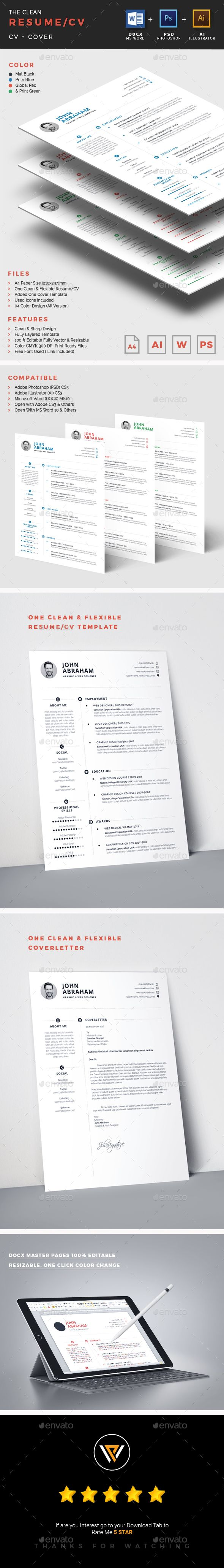 The Clean Resume CV Design A4
