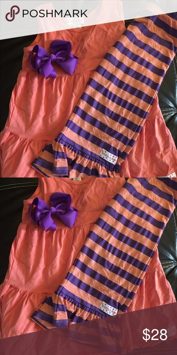 Girls NWT Ruffle Girl size 10 outfit Girls NWT Ruffle Girl size 10 outfit New with tags we just have so many we are selling some of them ahead of outgrowing them. These are Capri length ruffle leggings with tank top and matching hairbow.  Retails for $39.99.       The color set here is coral and purple. Ruffle Girl Matching Sets