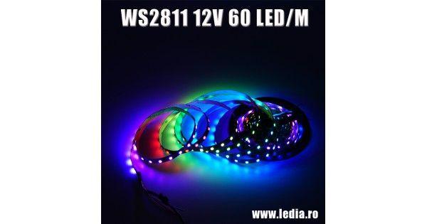 Banda LED DIGITALA model WS2811 IC  cu 60 LED /M , 300 LED SMD 5050 RGB per rola de 5 metri si standard IP20 fara protectie , alimentare la 12v.Banda LED digitala este cunoscuta si sub denumirea de Dream LED sau Magic LED si este o banda cu chip 5050 RGB dar exista diferite standarte de control