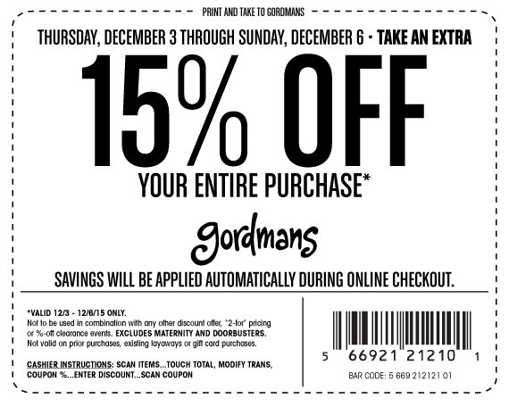 Pinned December 3rd: 15% off everything at Gordmans ditto online #coupon via The #Coupons App