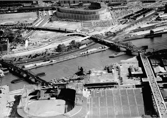 Polo Grounds and Yankee Stadium in the late 1930s - The Stadium opened in 1923 as a direct challenge to the powerhouse Giants