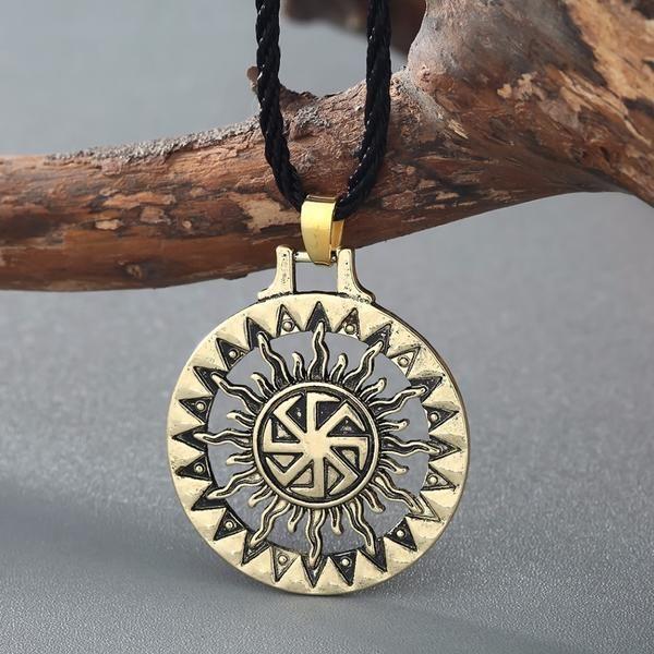 Viking Slavic Black Sun Pendant Necklace Black Leather Chain Mens Jewelry Chic