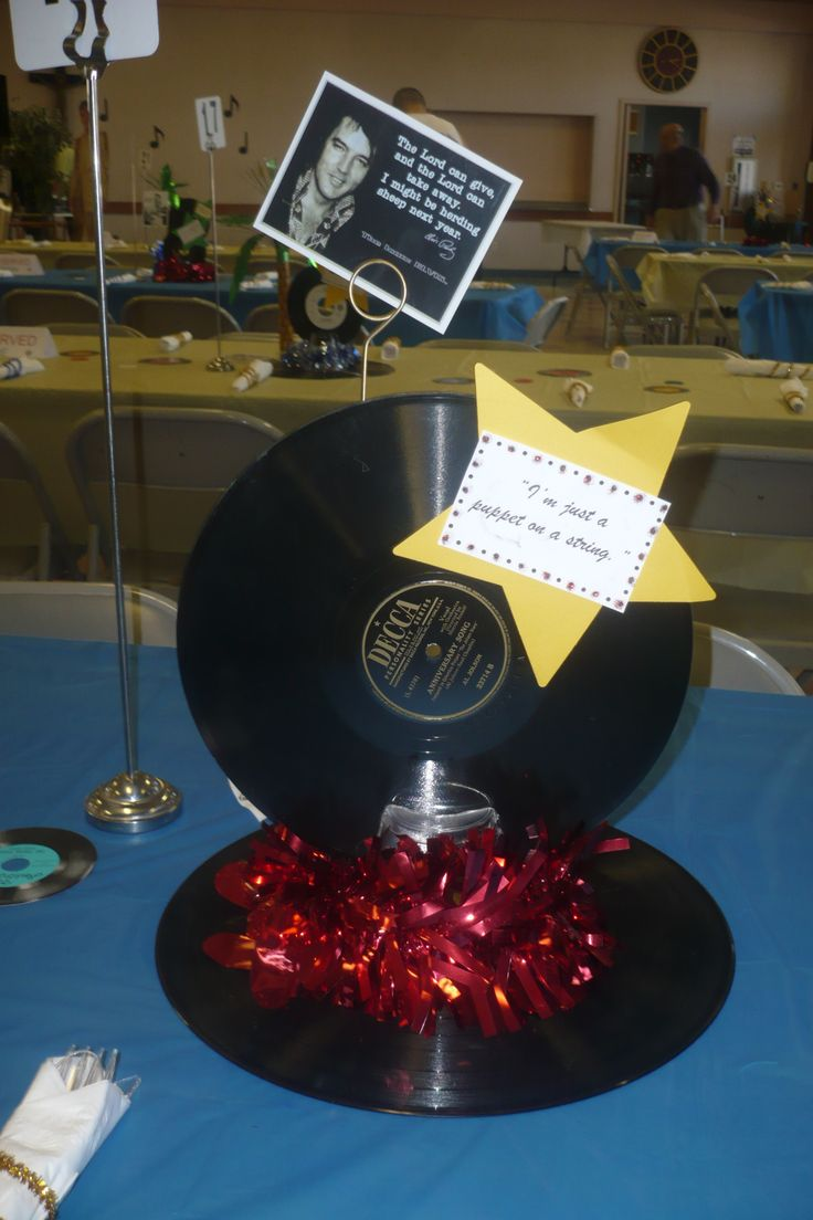 14 best 45 rpm decorations images on pinterest 50s party for Record decoration ideas