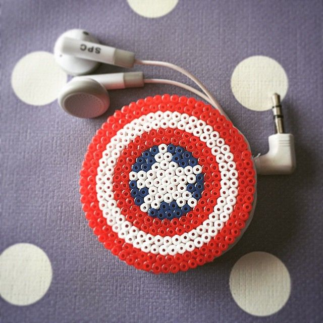 Captain America earbud organizer hama beads by saraoropesa