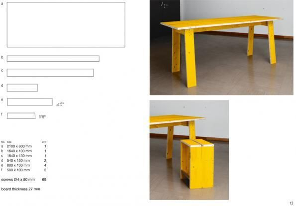"""SOCIAL FURNITURE / OPEN DESIGN MANUAL / SF is a social design project by EOOS in the framework of the """"Places for People"""" project, the Austrian contribution to the 15th International Architecture Exhibition of La Biennale di Venezia. Social Furniture consists of 18 furniture designs intended for a collective self-building process. The distinctive furniture made out of yellow shuttering panels form places for collective activities: living, cooking, working..."""