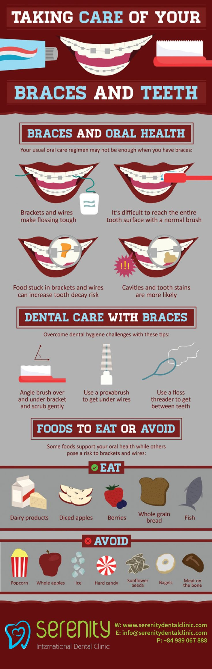 Learning how to take care of braces can take some practice when you first get them. But don't worry; it's not hard, it's just a case of doing things a little differently from pre-brace times.