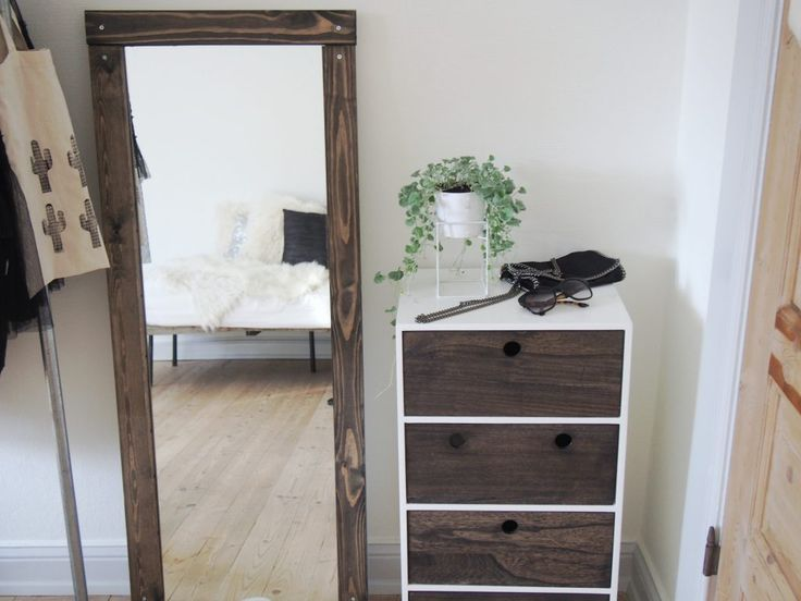 DIY mirror and dresser with black wood stain
