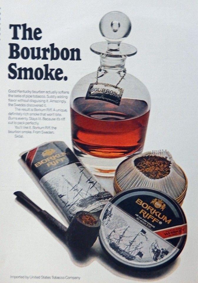 Borkum Riff Tobacco  70 s vintage advertisement  Color Illustration  the Bourbon Smoke  magazine art