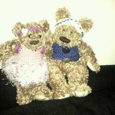 A person in my family tought the teddy bear looked naked, so i crochet som clothes for them