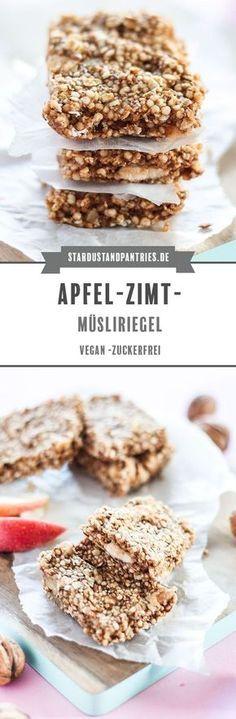 Vegane und zuckerfreie Apfel-Zimt-Müsliriegel sind ein gesunder Snack für Zwischendurch, vollgepackt mit echter Nervennahrung! #Granolabars #Apfel #Müsliriegel #selbstgemacht