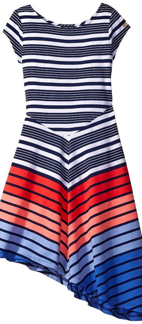 Tommy Hilfiger Kids Yarn-Dye Multi Directional Stripe Dress (Big Kids) (Flag Blue) Girl's Dress - Tommy Hilfiger Kids, Yarn-Dye Multi Directional Stripe Dress (Big Kids), TDG0254-411, Apparel Top Dress, Dress, Top, Apparel, Clothes Clothing, Gift, - Fashion Ideas To Inspire