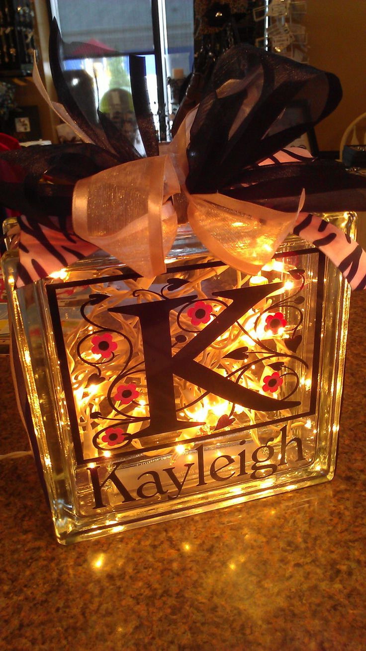 Personalized Vinyl Lettered Glass Block - 7x7. I really love these. It would be a nice gift.