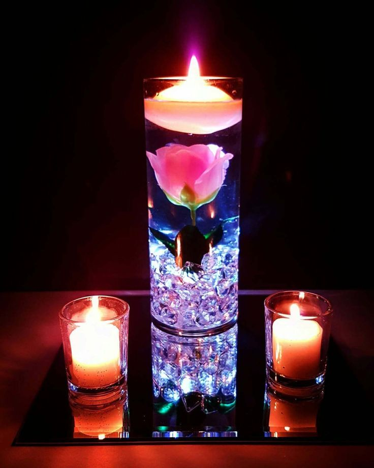 Floating Candles And Flowers For Wedding Centerpieces: Wedding Centerpiece, Floating Candle Centerpiece With Pink