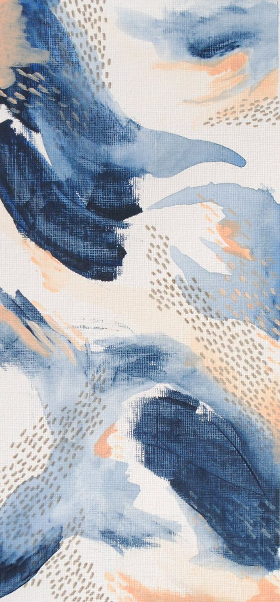 Abstract Deep Blue and Peaches Three. by TulipsAndLaceStudio