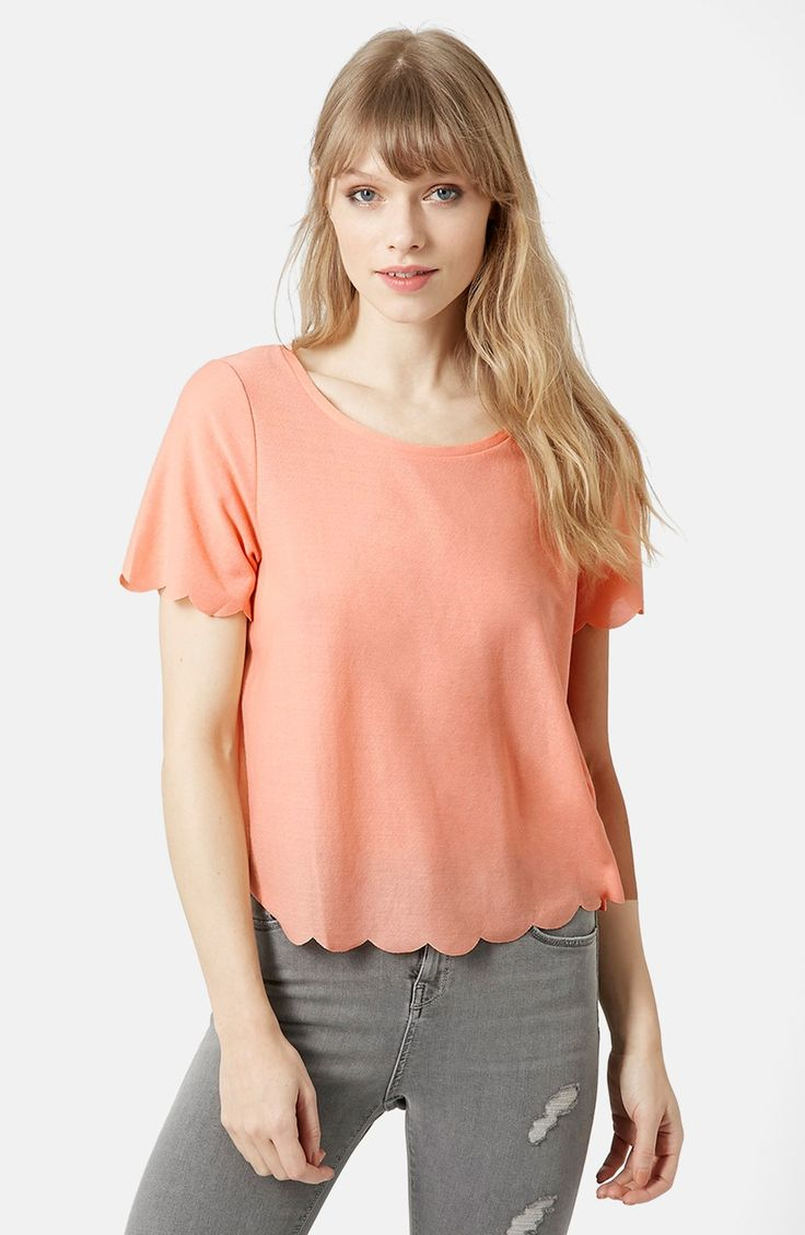 Johnny was long sleeve eyelet tunic in pink blush save 63 lyst - Topshop Scallop Frill Tee