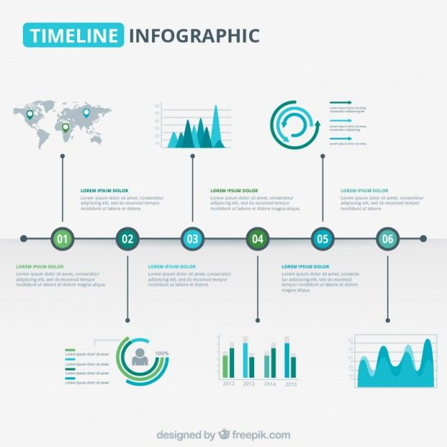 Modern timeline graphic in blue and green tones Free Vector                                                                                                                                                                                 More