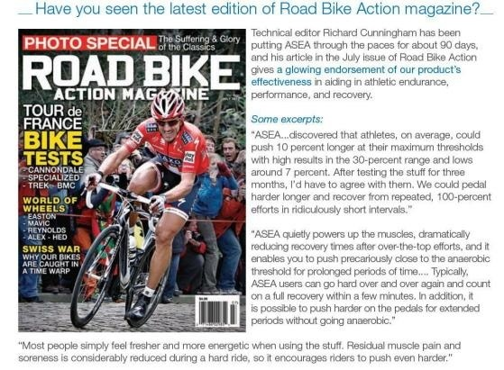 Road Bike Magazine Evaluates ASEA and How Amazed It Is With The Results Athletes From Every where have SEEN!