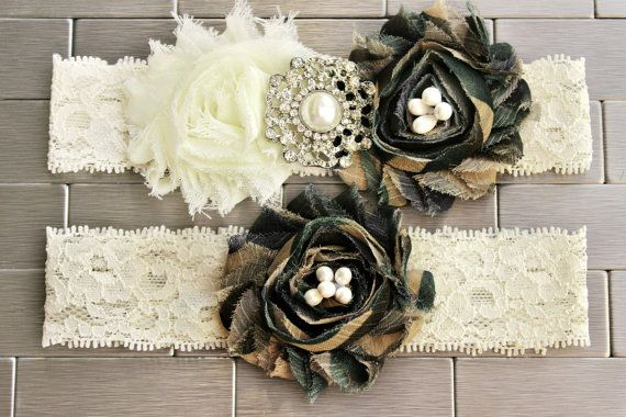 Army Camo Garter Set - Camoflauge Wedding Garters, Military Lace Garter w/ Camo Flowers, Pearl and Bling Accents,  Plus size garter Options