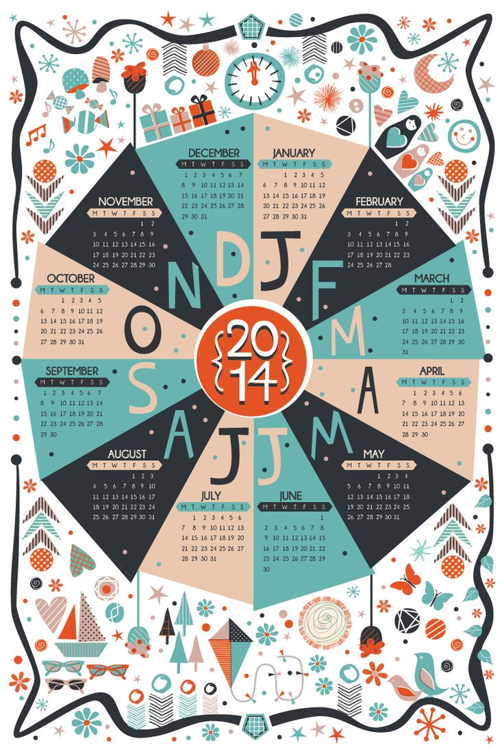 2014 Calendar design | Illustration | Wall Planner | Sam Osborne