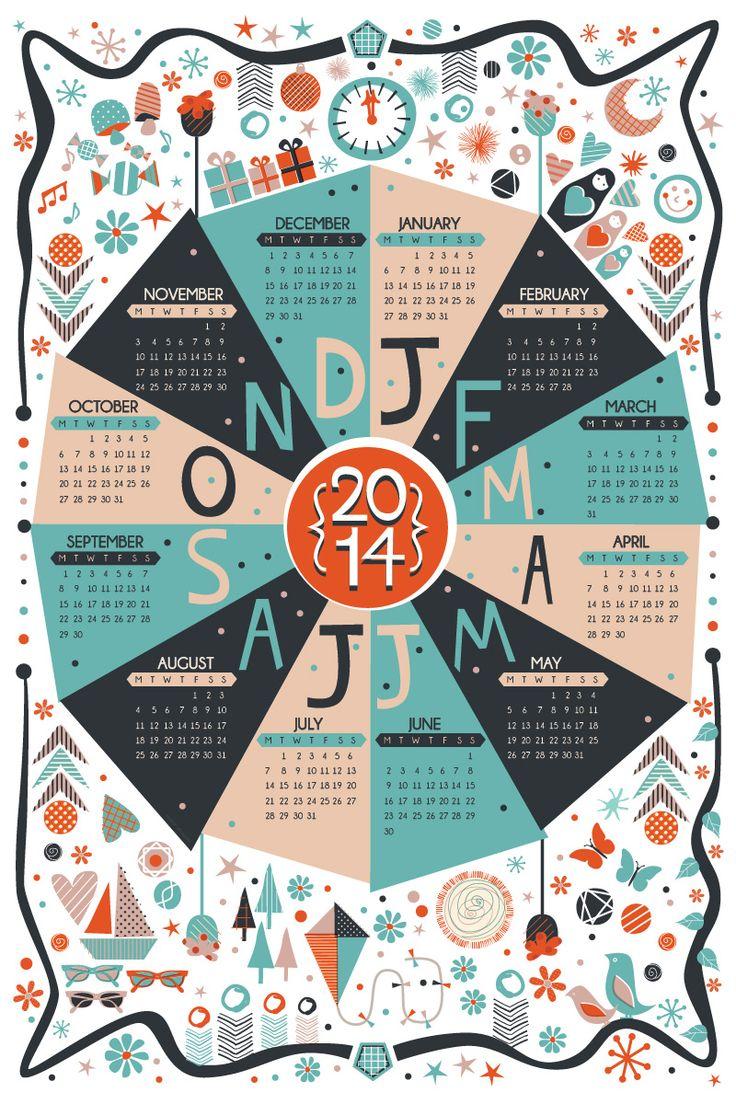 2014 Calendar design   Illustration   Wall Planner    Sam Osborne