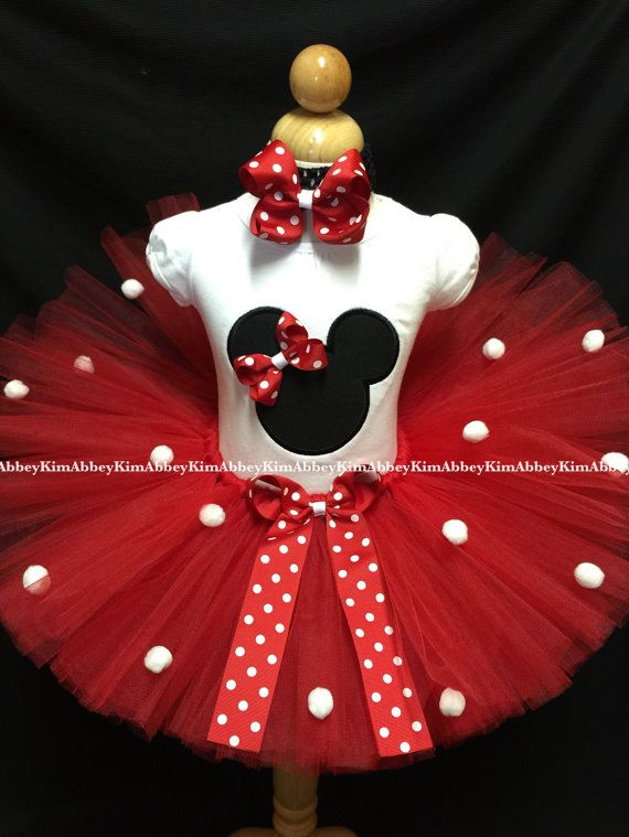 Minnie mouse tutu set silhouette red Bow pompoms by Abbeykim1