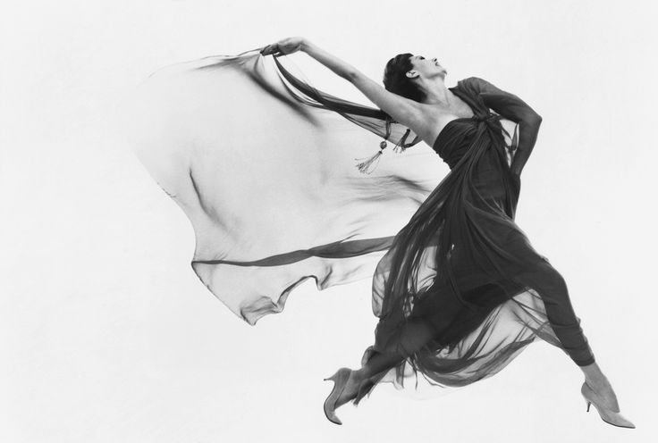 Cyd Charisse, dress by Macrini, New York, New York, June 9, 1961      Richard Avedon -   I really love how the photographer captured the movement and fluidity of the woman's clothing. Her posture and the way her heels bend and point really encapsulate elegance.